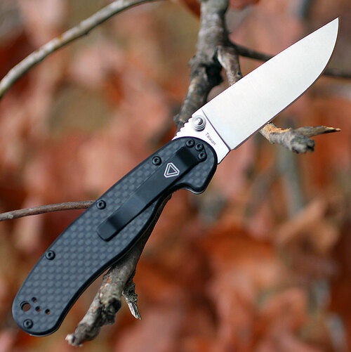"Ontario 8832 Rat II Folder, 3"" D2 Plain Blade, Carbon Fiber Handle"