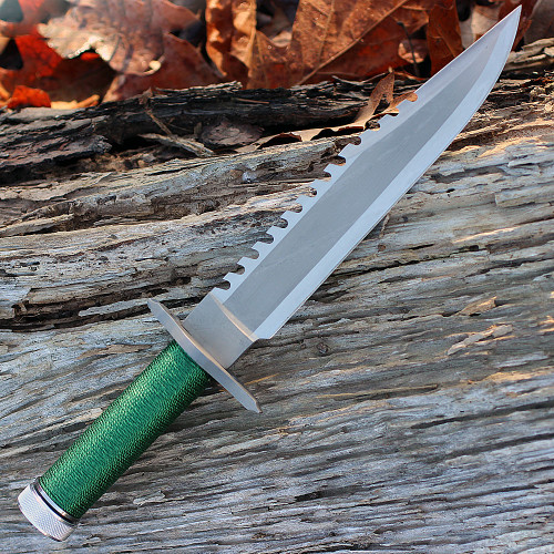"Rambo 9292 First Blood Standard Edition, 9"" Stainless Plain Blade, Green Nylon Cord-wrapped Handle"