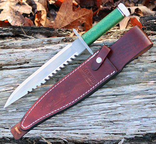 "Rambo 9293 First Blood Signature Edition, 9"" Stainless Plain Blade, Green Nylon Cord-wrapped Handle"