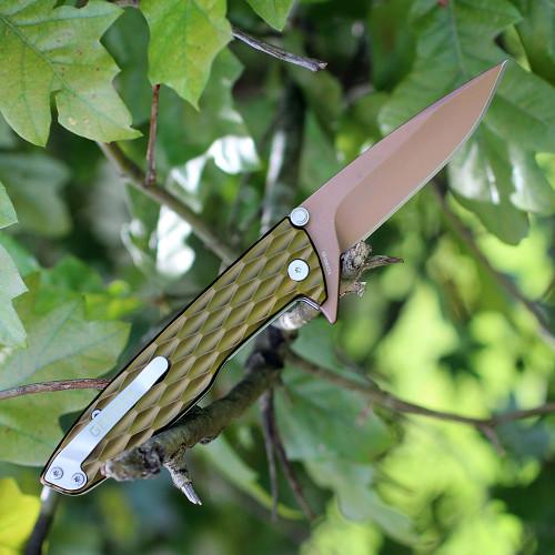 Gerber 30-001353 One-Flip, 3.2 in 5Cr15MoV Rose Gold Plain Blade, Green Aluminum Handle