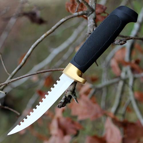 "Marttiini 175014 Fisherman's Knife, 4.25"" Stainless Plain Blade, Black Rubber Handle"