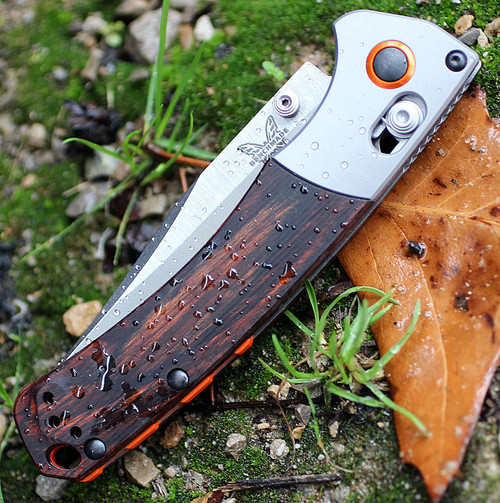 """Benchmade Hunt 15085-2 Mini Crooked River, 3.4"""" CPM-S30V Plain Blade, Contoured Wood Handle"""