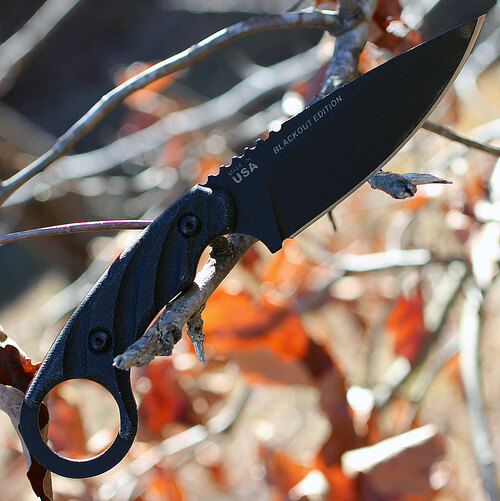 Tops Knives CUT-40 Combat Utility Tool Blackout Edition, Joshua Swanagon Karambit Style Fixed Blade