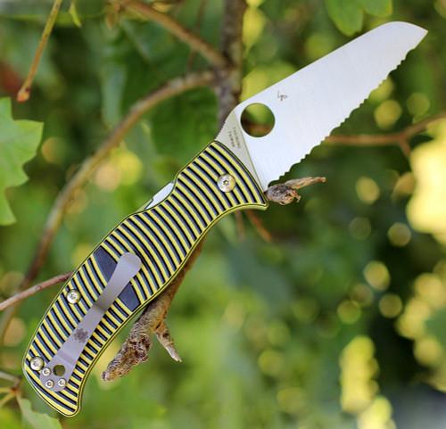 "Spyderco Caribbean Sheepfoot G-10 Yellow/Black C217GSSF, 3.70"" LC200N Serrated Blade"