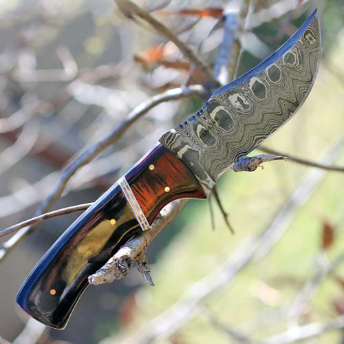 """Damascus 1054 Skinner, 4"""" Damascus Plain Blade, Black Horn Handle"""