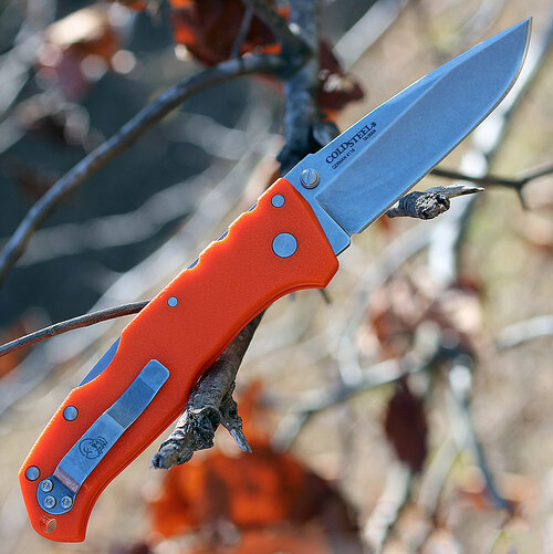 "Cold Steel 54NVRY Steve Austin Working Man, 3.5"" 4116 Plain Blade, Blaze Orange GFN Handle"
