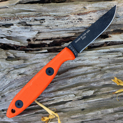 "ESEE-CR2.5-OR Camp-Lore, 6.25"" Black Oxide Fixed Blade, 2.5"" 1095 Flat Grind Blade, Orange G-10 Handle, Leather Sheath"