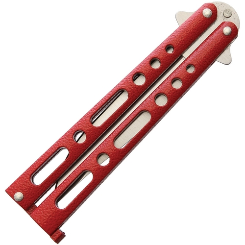 """BenchMark 009 Balisong, 3.5"""" Stainless Plain Blade, Red Aluminum Handle"""