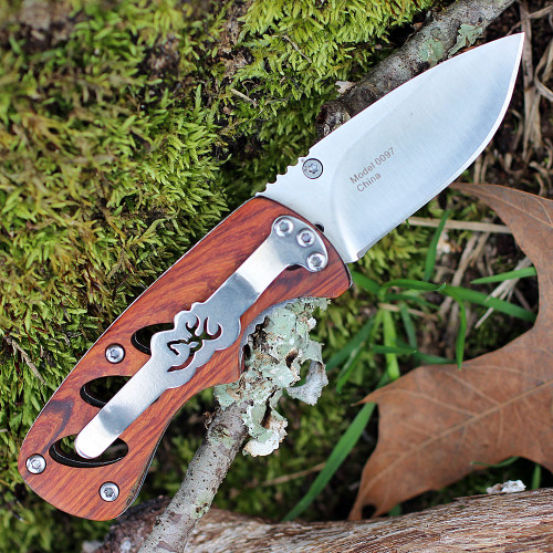 "Browning Small Cocobolo Linerlock, 2"" 440 Plain Blade, Cocobolo Wood Handle"