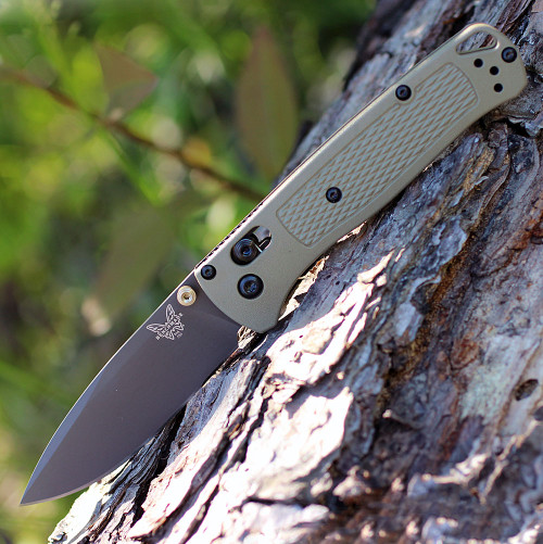 "Benchmade 535GRY-1 Bugout, 3.24"" CPM-S30V Plain Gray Blade, Ranger Green Grivory Handle"