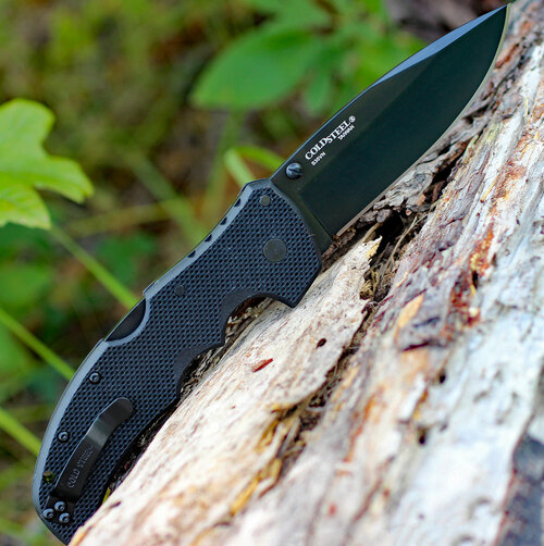 """Cold Steel 27BS Recon 1 Spear Point, 4"""" S35VN Plain Blade, Black G-10 Handle"""