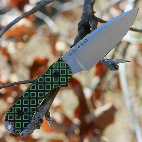 "Bradford Guardian3, 3.5"" N690 Plain Blade, Toxic Green/Black G-10 Handle"
