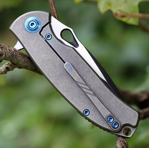 "We Knife 803A Rectifier, 2.95"" CPM-S35VN Plain Black Blade, Green G-10 Handle"