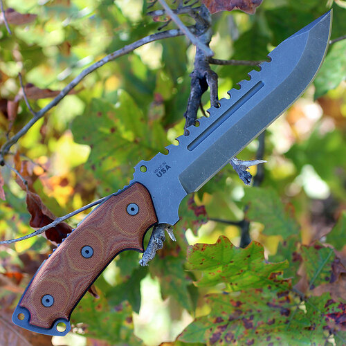 "TOPS SE107CDC Steel Eagle Delta Class, 7.6"" 1095 Plain Blade, Tan Canvas Micarta Handle"
