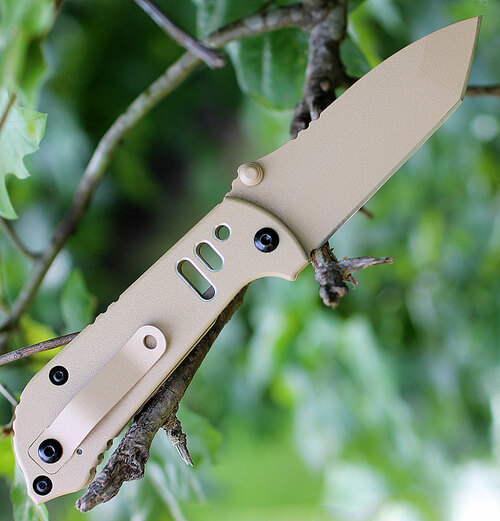 "TOPS MIL35T05 Mil-Spie, 3.5"" N690Co Tan Tanto Blade, Coyote Tan Aluminum Handle"