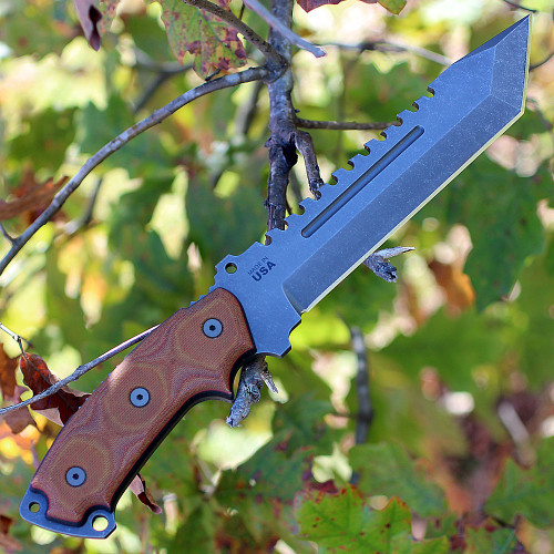"TOPS SE107DDC Steel Eagle Delta Class, 7.6"" 1095 Tanto Blade, Tan Canvas Micarta Handle"