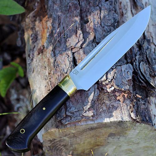"""Bark River 10114MBC Vidarr, 6.4"""" A-2 Plain Blade, Black Canvas Micarta Handle"""