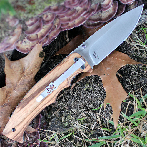 "Browning Zebra Wood Linerlock, 3.25"" Stainless Plain Blade, Zebra Wood Handle"