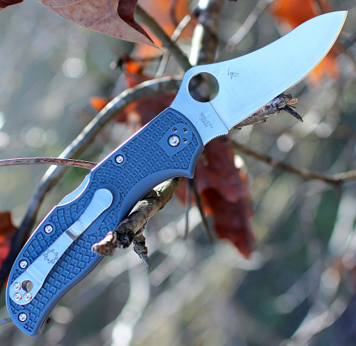Spyderco C90FPBLE2 Stretch 2, V-Toku2/SUS310 Plain Blade, Blue-Grey FRN Handle-SPRINT RUN
