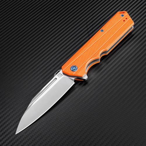 Artisan Littoral ATZ1703POE , 3.54 in. D2 Plain Blade, Orange G10 Handle