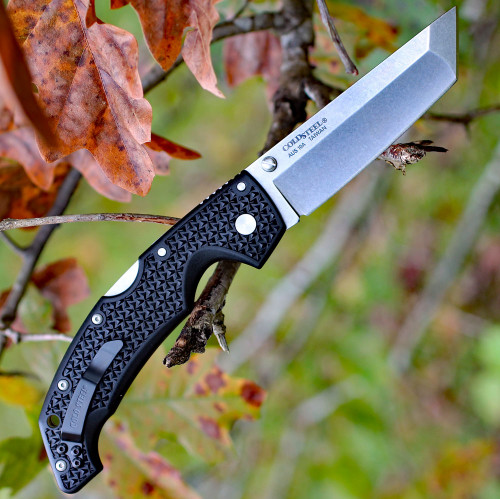 "Cold Steel 29AT Large Voyager Tanto Point, 4"" AUS10A Plain Blade, Black Grive-Ex Handle"
