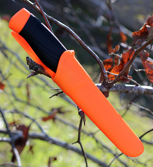 "Mora Companion Heavy Duty, 4"" Carbon Steel Plain Blade, Black/Orange Rubber Handle"