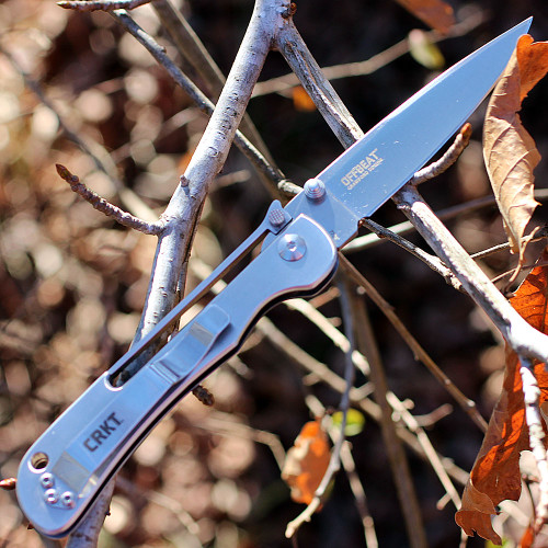 """CRKT 7730 Offbeat, 3.52"""" 8Cr13MoV Plain Blade, Stainless Handle"""
