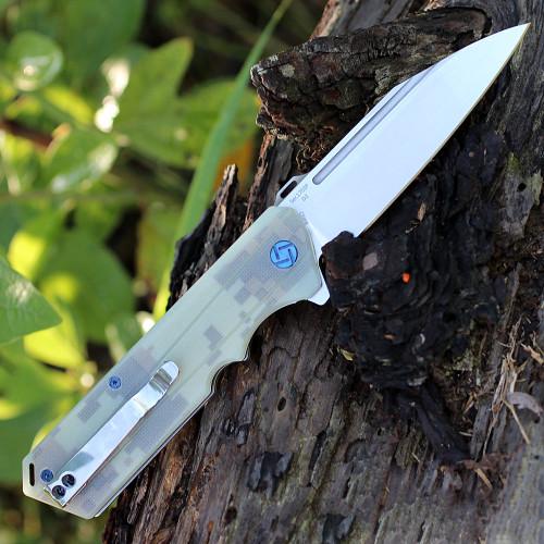 Artisan Littoral ATZ1703PCG , 3.54 in. D2 Plain Blade, Camo G10 Handle