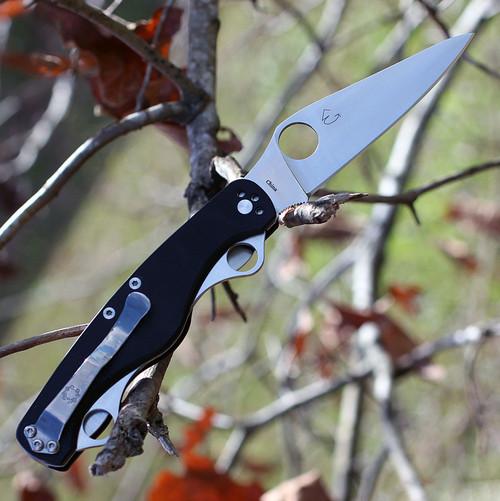 "Spyderco C208GP ClipiTool Standard, 3.5"" 8Cr13MoV Plain Blade, Black G-10 Handle"