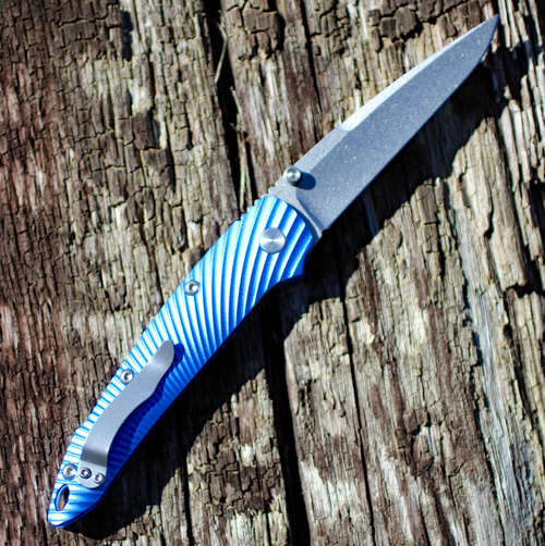 Kizer KI4419A2 Silver, 3.50 in. CPM-S35VN Stonewash Plain Blade, Blue Aluminum Handle