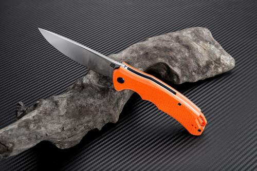 "Artisan Tradition ATZ1702POE, 3.94"" D2 Plain Blade, Orange G-10 Handle"