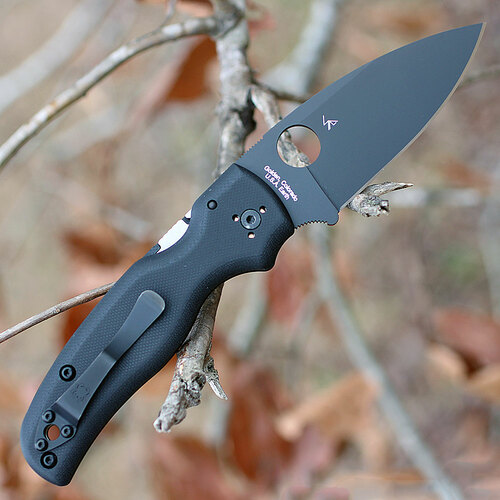 "Spyderco C229GPBK Shaman, 3.58"" CPM S30V Plain Black Blade, Black G-10 Handle"