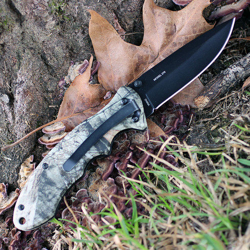 "Browning Mossy Oak Linerlock, 3.5"" Stainless Plain Blade, Aluminum Handle"
