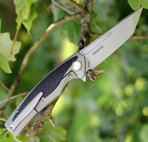"Bestech T1706B Predator, 3.6"" CPM-S35VN Plain Blade, Gray Titanium Handle w/Carbon Fiber Inlay"