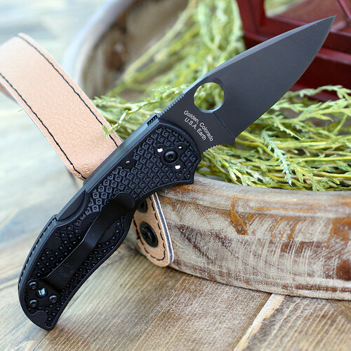 "Spyderco Native 5 Lightweight C41PBBK5, 3.10"" CPM S30VN Black Plain Blade, Black FRN Handle"