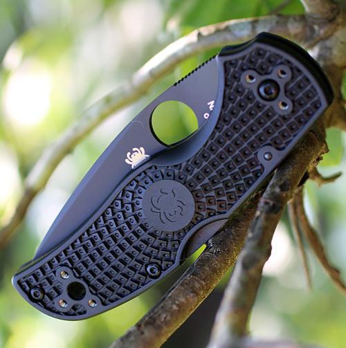 "Spyderco Native 5 Lightweight C41PBBK5, 3.10"" CPM S35VN Black Plain Blade, Black FRN Handle"