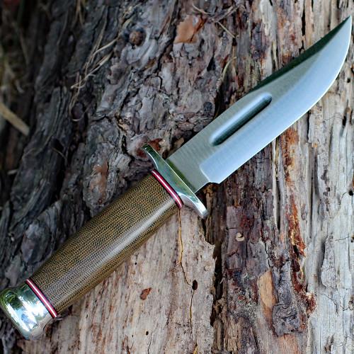 "Bark River 08112MGC Boone, 5"" A-2 Plain Blade, Green Canvas Micarta  Handle"