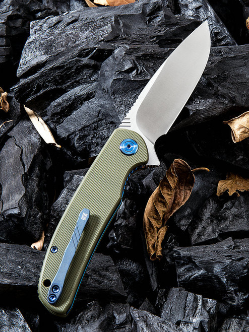 "We Knife 809A Practic, 3.3"" Bohler M390 Plain Blade, Green G-10 Handle"