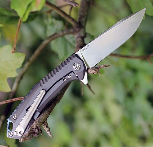 "Kizer 4505 Basalt, 3.3"" CPM-S35VN Plain Blade, Gray Titanium Handle"