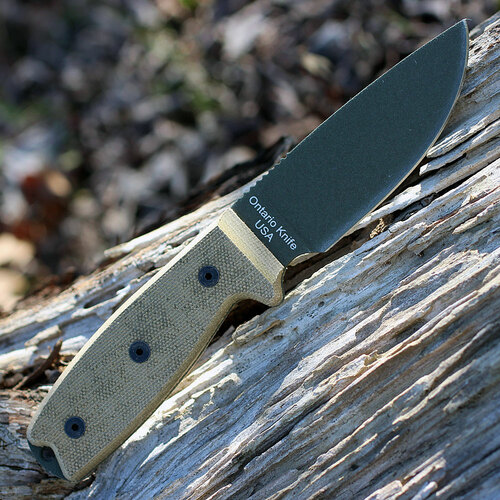 "Ontario 8690 RAT-3 OD Green, 3.9"" 1095 Plain Blade, Tan Micarta Handle"