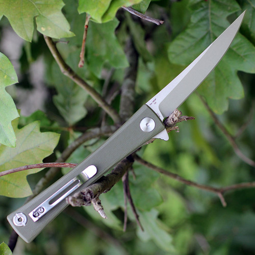 """Artisan S Waistline ATZ1805PGNF, 3.94"""" D2 Plain Blade, Green Flat G-10 Handle"""