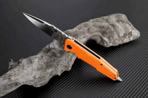 "Artisan Predator ATZ1706POE, 3.74"" D2 Steel, Orange G-10 Handle"