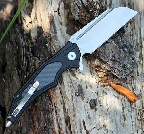 "Artisan Apache ATZ1813PBCF, 3.7"" D2 Plain Blade, Black Aluminum/Carbon Fiber Handle"