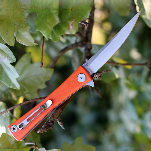 "Artisan S Waistline ATZ1805POEF, 3.94"" D2 Plain Blade, Orange Flat G-10 Handle"