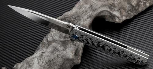 "Artisan ATZ1807GBSS Virginia, 3.94"" S35VN Plain Blade, Black Carbon Fiber Handle"