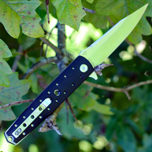 "Artisan Virginia ATZ1807PBK, 3.94"" D2 Plain Blade, Curved Black G-10 Handle"