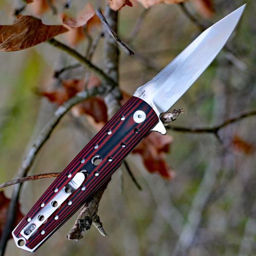 "Artisan Virginia ATZ1807PBR, 3.94"" D2 Plain Blade, Curved Red/Black G-10 Handle"