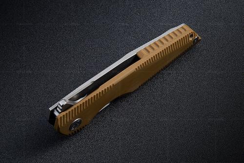 "Rike Knife 802GBR Framelock, 3.75"" 154CM Plain Blade, Brown Titanium/G-10 Handle"
