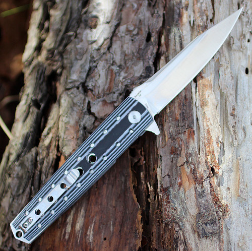 "Artisan Virginia ATZ1807PBW, 3.94"" D2 Plain Blade, Curved White/Black G-10 Handle"