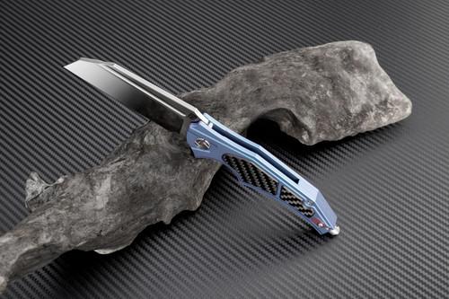 "Artisan Apache ATZ1813GBUS, 3.82"" S35VN Plain Blade, Blue Titanium/Carbon Fiber Handle"